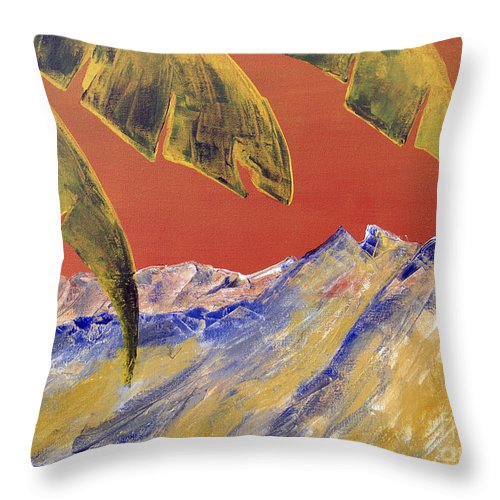 Landscape Painting Throw Pillow featuring the painting Orange Sky by Kandyce Waltensperger