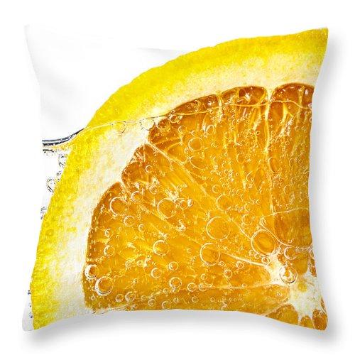 Orange Slice In Water Throw Pillow