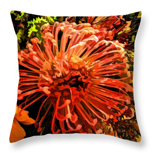 Floral Throw Pillow featuring the photograph Orange Spice Floral by Joan Minchak