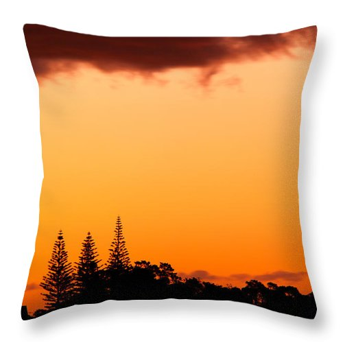 Araucaria Throw Pillow featuring the photograph Orange Sunset And Silhouettes Of Norfolk Pines by Stephan Pietzko