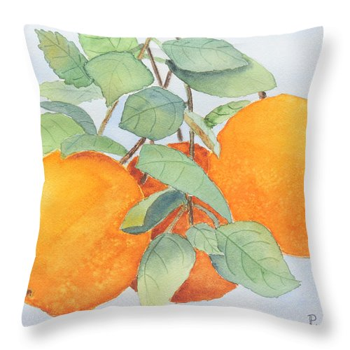Orange Throw Pillow featuring the painting Orange Trio by Patricia Novack