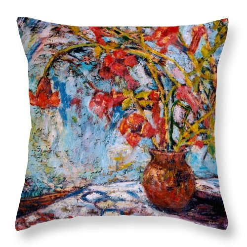 Trumpet Flowers Throw Pillow featuring the painting Orange Trumpet Flowers by Kendall Kessler