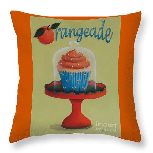 Art Throw Pillow featuring the painting Orangeade Cupcake by Catherine Holman