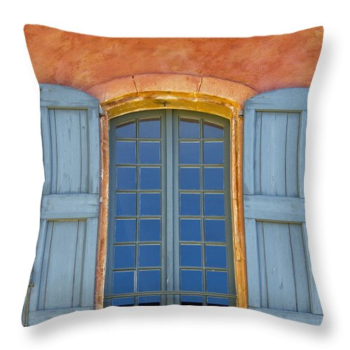 Roussillon France Provence Window Windows Shutter Shutters City Cities Cityscape Cityscapes Building Buildings Structures Architecture Throw Pillow featuring the photograph Oranges And Blues by Bob Phillips