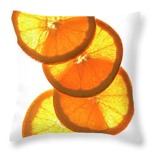 Orange Color Throw Pillow featuring the photograph Oranges On White by Jack Andersen