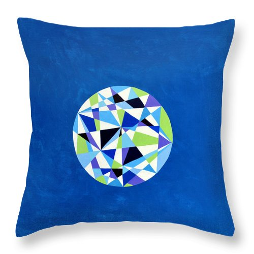 Mandala Joy Spiritual Art Healing Art Visionary Art Happy Happiness Meditation Contemplation Peace Center Equilibrium Equanimity Sphere Chi Ball Prism Prismatic Sacred Geometry Circle Of Life Manifestation Throw Pillow featuring the painting Orb - Prismatic Blue by Elle Nicolai