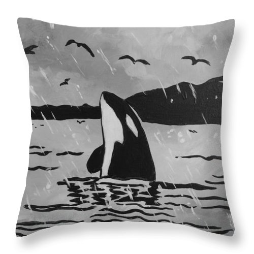 Orca Throw Pillow featuring the painting Orca Free And Happy by Shannon Lee