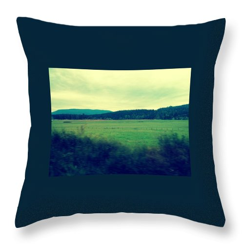 Landscape Throw Pillow featuring the photograph Orcas Greenery by Barbara Christensen