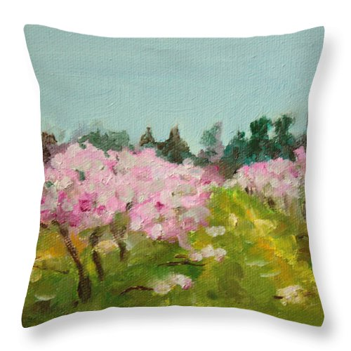Landscape Throw Pillow featuring the painting Orchard by Sarah Lynch