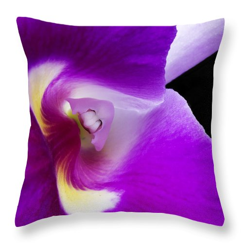 Card Throw Pillow featuring the photograph Orchid 2 by Guy Shultz