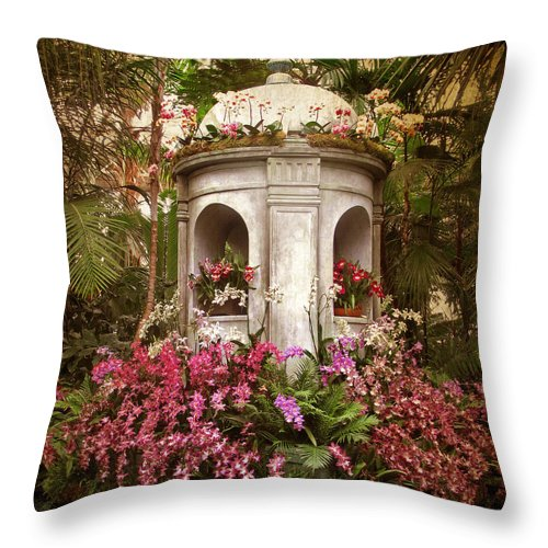 Flowers Throw Pillow featuring the photograph Orchid Display by Jessica Jenney