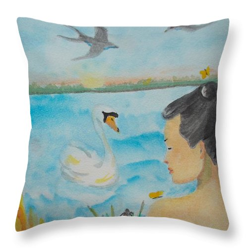 Figure Throw Pillow featuring the painting Orchid Flower Love by Lilibeth Andre