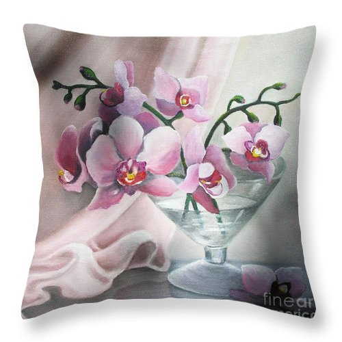 Still Life Throw Pillow featuring the painting Orchids by Vesna Martinjak
