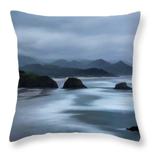 Beach Throw Pillow featuring the photograph Oregon Coast by Erika Fawcett