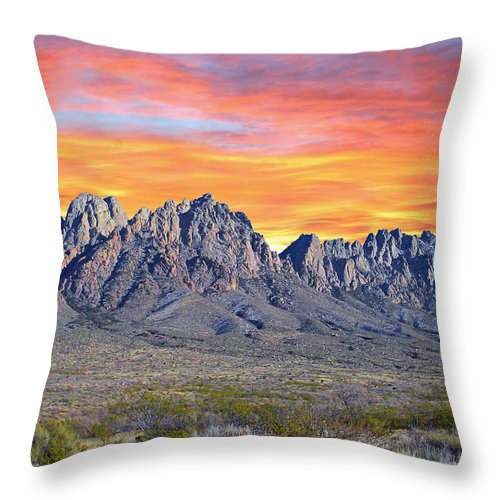 Sun Throw Pillow featuring the photograph Organ Mountain Sunrise by Jack Pumphrey