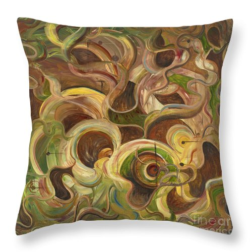 Organic Throw Pillow featuring the painting Organic Life by Nadine Rippelmeyer