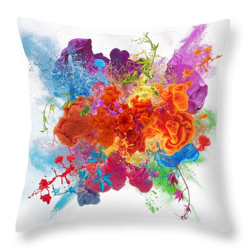 Material Throw Pillow featuring the digital art Orgasm by Vizerskaya