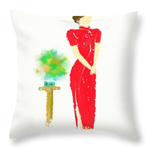 Orient Throw Pillow featuring the painting Orient by Len YewHeng