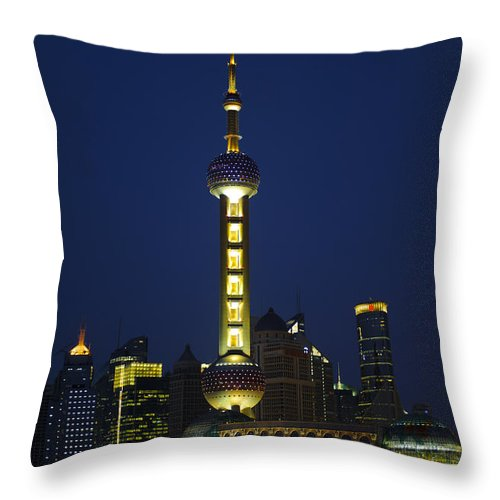 Asia Throw Pillow featuring the photograph Oriental Pearl Tower, Shanghai by John Shaw