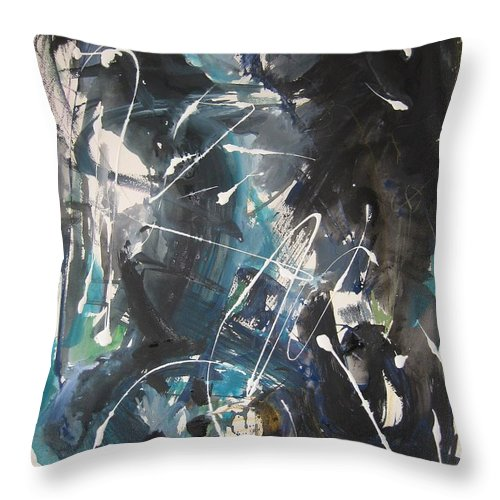 Blue Black Paintings Throw Pillow featuring the painting original abstract blue and black painting for sale-Blue Valley by Seon-Jeong Kim