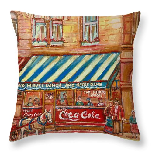 Montreal Scenes Throw Pillow featuring the painting Original Bank Notre Dame Street by Carole Spandau