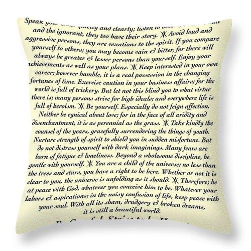 Desiderata Throw Pillow featuring the mixed media Original Desiderata Poem by Desiderata Gallery