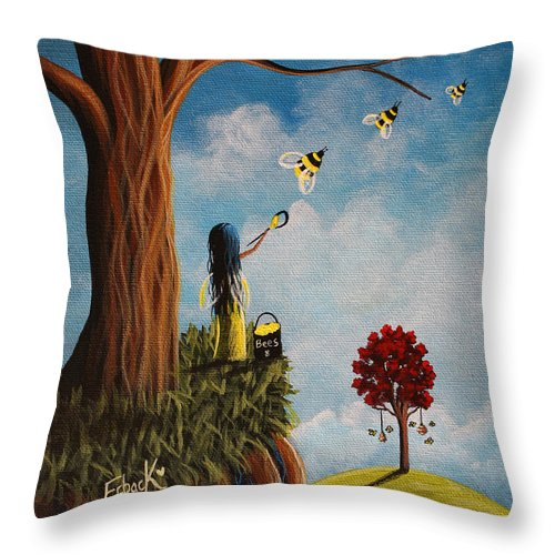 Bees Throw Pillow featuring the painting Original Fairy Artwork - Creating Her Happy Place by Shawna Erback