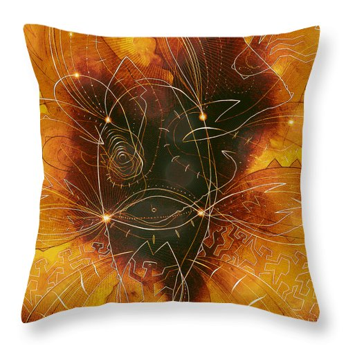 Imaginary Landscape Throw Pillow featuring the painting Origine by Di Vinci Lino