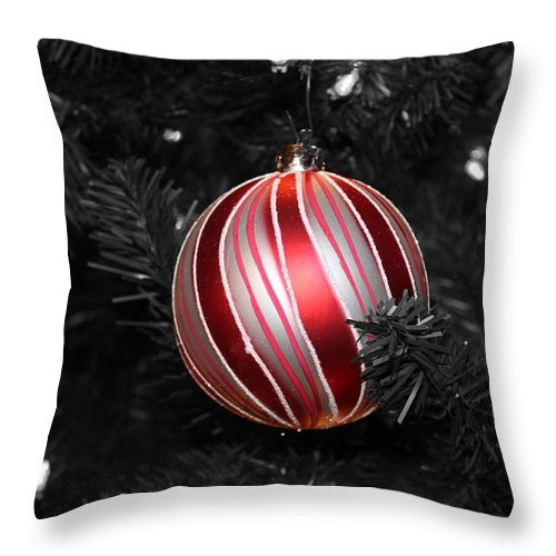 Christmas Throw Pillow featuring the pyrography Ornament by Kayla Benjamin