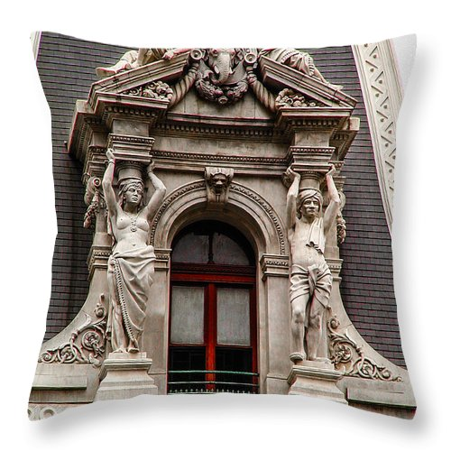 Ornate Throw Pillow featuring the photograph Ornate Window Of City Hall Philadelphia by Bill Cannon