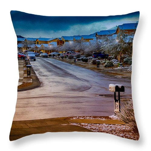 Myhaver Photography Throw Pillow featuring the photograph Oro Valley Winter No.54 by Mark Myhaver