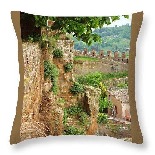 Orvieto Battlement Throw Pillow featuring the photograph Orvieto Battlement by Ellen Henneke