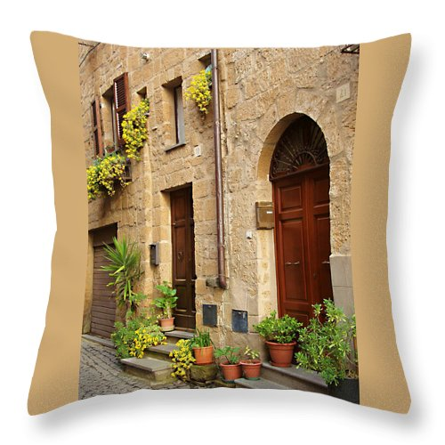 Orvieto Homes Throw Pillow featuring the photograph Orvieto Homes by Ellen Henneke
