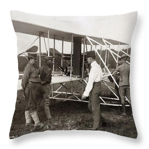 wright Brothers Throw Pillow featuring the photograph Orville Wright And Aeroplane 1908 by Daniel Hagerman