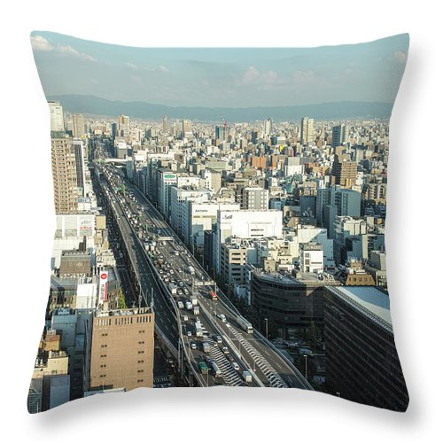 Osaka Prefecture Throw Pillow featuring the photograph Osaka Cityscape by I Love Photo And Apple.