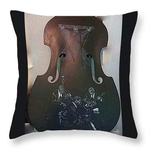 Oscar Peterson Throw Pillow featuring the painting Oscar Peterson Trio by Richard Le Page