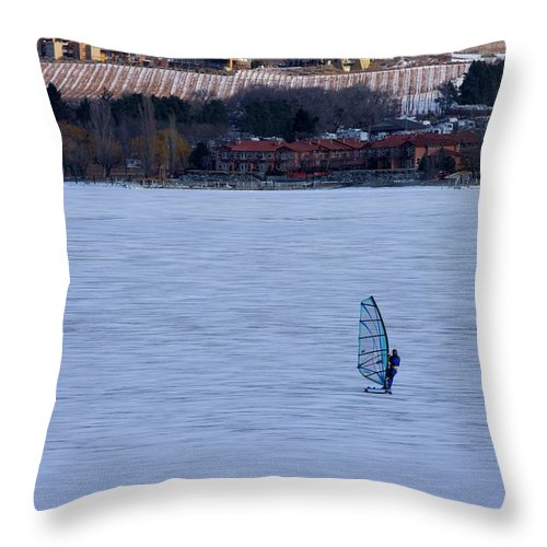 Ice Throw Pillow featuring the photograph Osoyoos Winter Fun by John Greaves