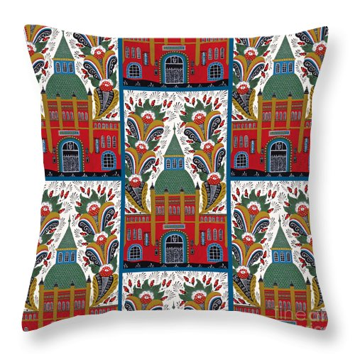 Swedish Folk Art Throw Pillow featuring the painting Ostermalm Saluhall by Leif Sodergren