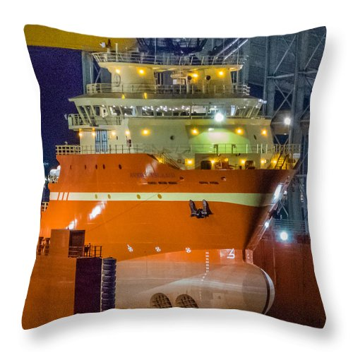Location Throw Pillow featuring the photograph Osv In Port Fourchon Drydock by Gregory Daley MPSA