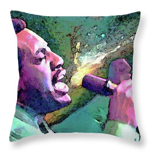 Otis Redding Throw Pillow featuring the painting Otis Redding by John Travisano