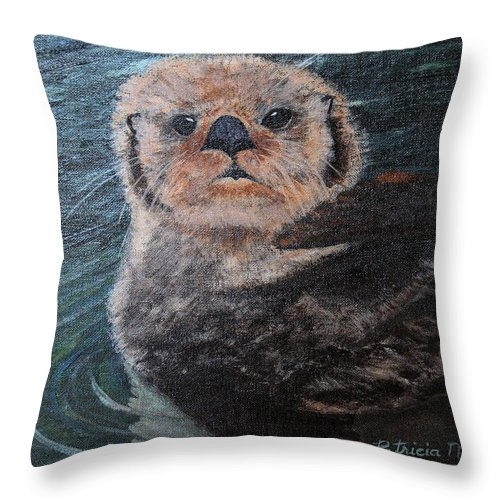 Otters Throw Pillow featuring the painting Ottertude by Patricia Novack