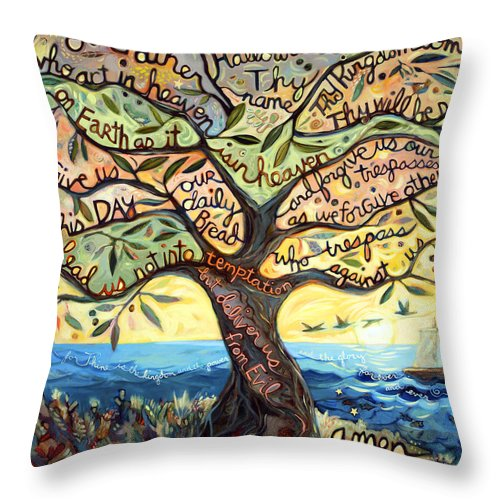 Jen Norton Throw Pillow featuring the painting Our Father by Jen Norton