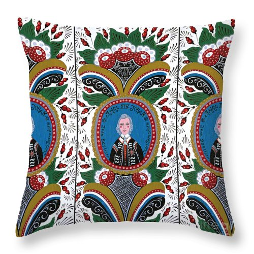 Swedish Folk Art Throw Pillow featuring the painting Our King by Leif Sodergren