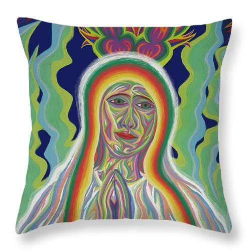 Virgin Mary Throw Pillow featuring the painting Our Lady Of Fatima 2012 - Detail A by Robert SORENSEN