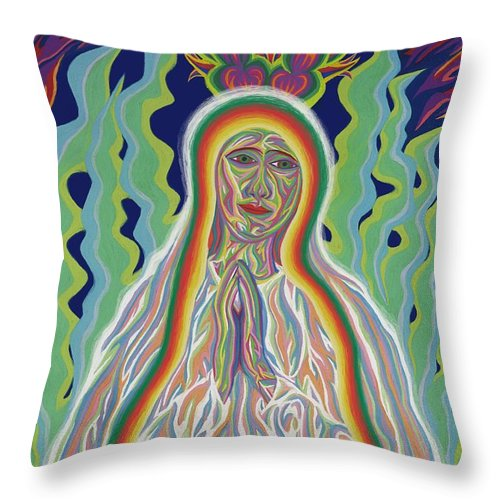 Virgin Mary Throw Pillow featuring the painting Our Lady Of Fatima 2012 by Robert SORENSEN
