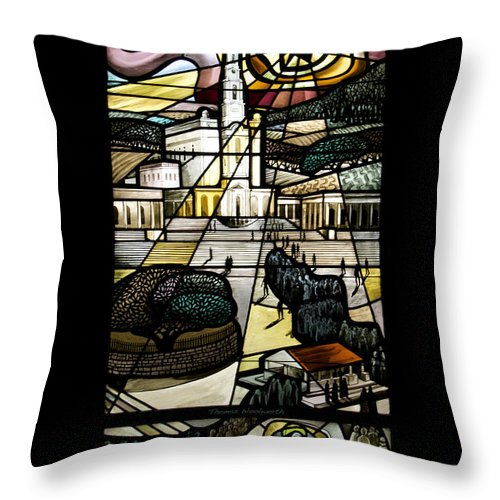 Stained Glass Throw Pillow featuring the photograph Our Lady Of Fatima by Thomas Woolworth