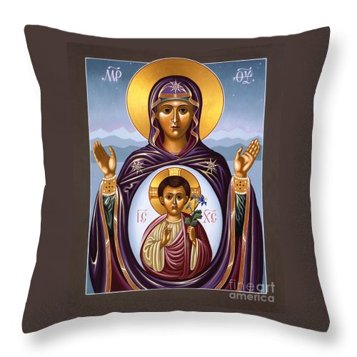William Hart Mcnichols Throw Pillow featuring the painting Our Lady Of The New Advent Gate Of Heaven 003 by William Hart McNichols