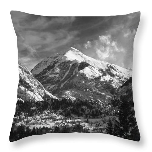 Elevation High Rugged Amazing Brett Pfister Ouray Black White B&w Town Ski Throw Pillow featuring the photograph Ouray Colorado by Brett Pfister