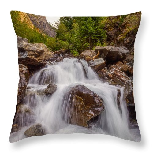 Waterfall Throw Pillow featuring the photograph Ouray Wilderness by Darren White