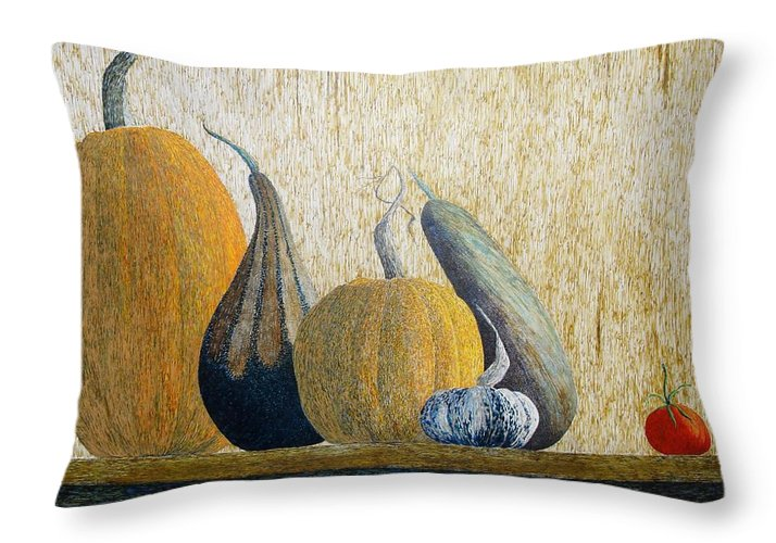 Pumpkin Throw Pillow featuring the painting Out Cast by A Robert Malcom